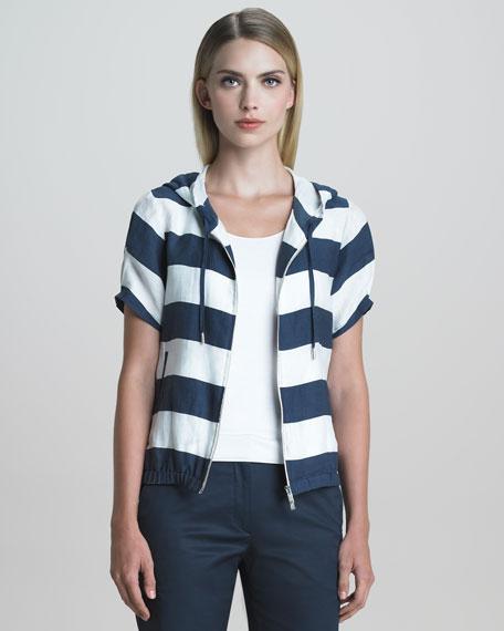 Short-Sleeve Nautical-Striped Jacket