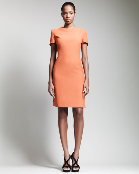 Short-Sleeve Crepe Dress, Orange