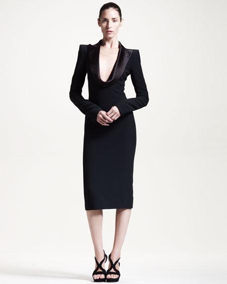 Draped-Lapel Dress