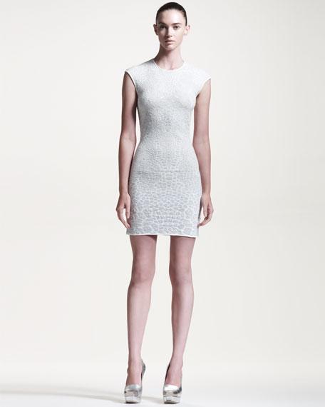 Cap-Sleeve Dragonfly Jacquard Dress, Ivory