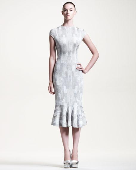 Alexander McQueen Geometric Intarsia-Knit Flounce Dress