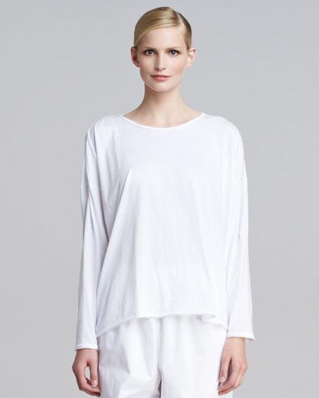Long-Sleeve Scoop-Neck T-Shirt, White