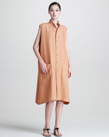 Sleeveless A-Line Linen Button-Front Dress