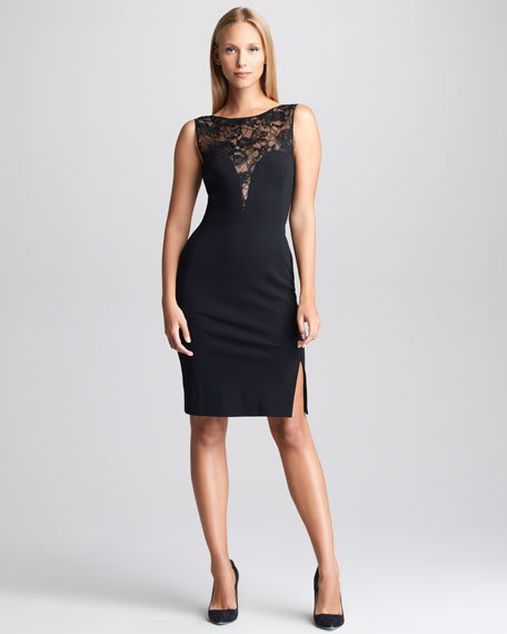 Lace-Yoke Sheath Dress, Black