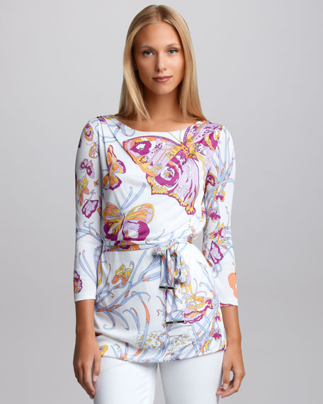 Self-Belted Butterfly Tunic
