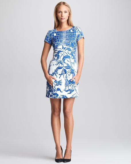 Printed Cloque Shift Dress