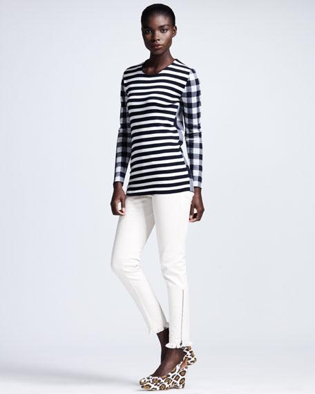 Fringe-Hem Skinny Jeans