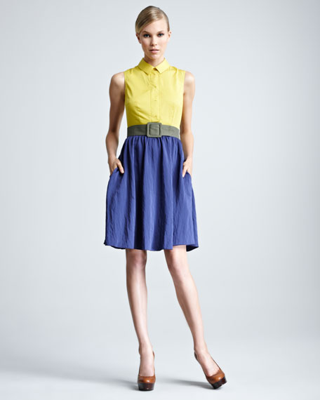 Colorblock Poplin Dress