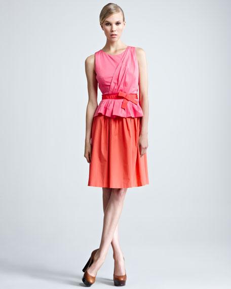 Bow-Waist Combo Dress