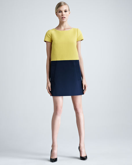 Colorblock Pique-Knit Shift Dress