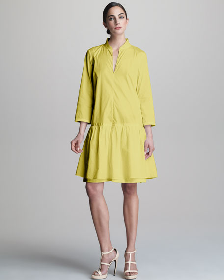 Dropped-Waist Poplin Dress