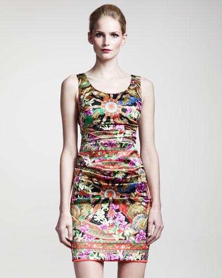Printed Stretch-Satin Dress