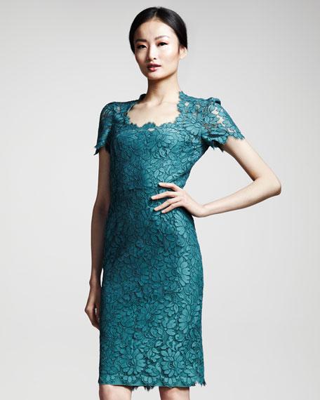 Floral-Lace Short-Sleeve Dress