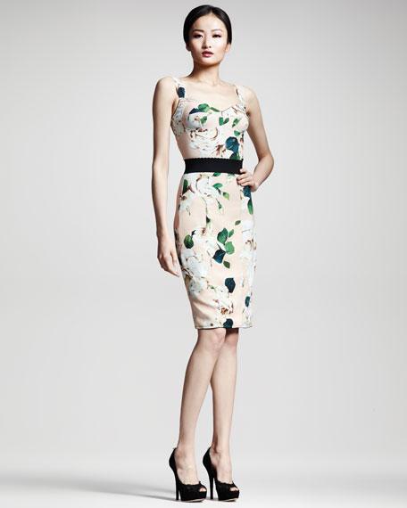 Floral-Print Panel Dress