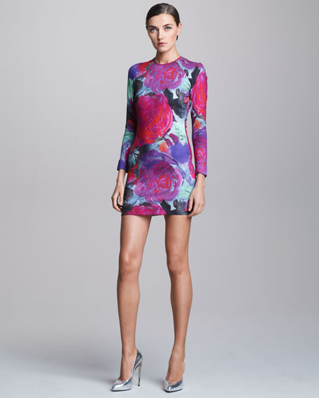 Floral-Print Stretch Minidress