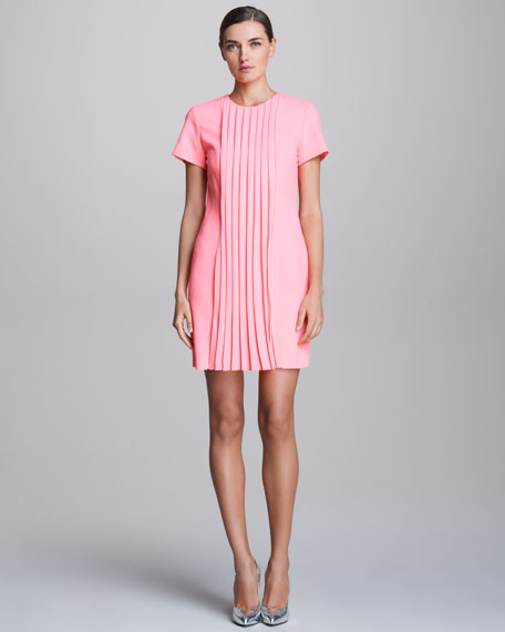 Pleat-Front Short-Sleeve Dress
