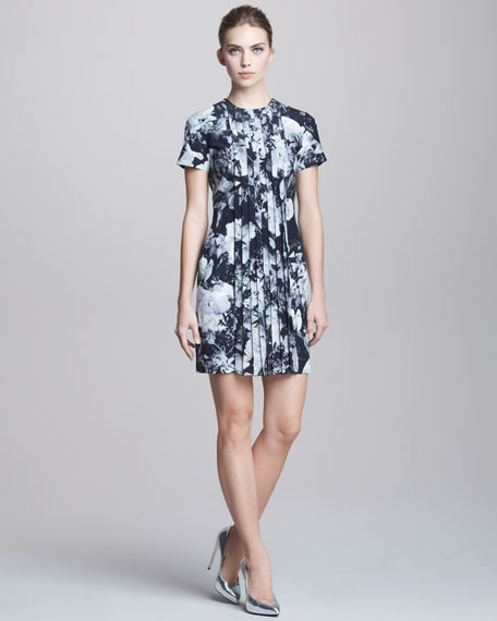 Printed Pleat-Front Short-Sleeve Dress