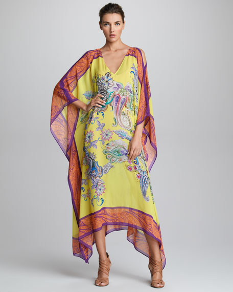 Cutout-Shoulder Caftan, Lemon