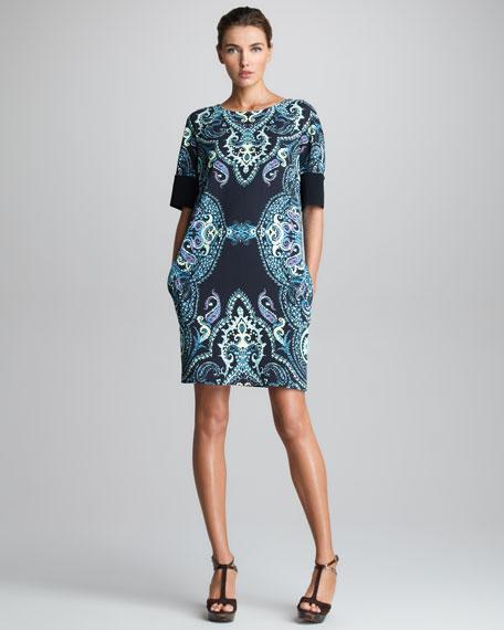 Half-Sleeve Shift Dress, Black