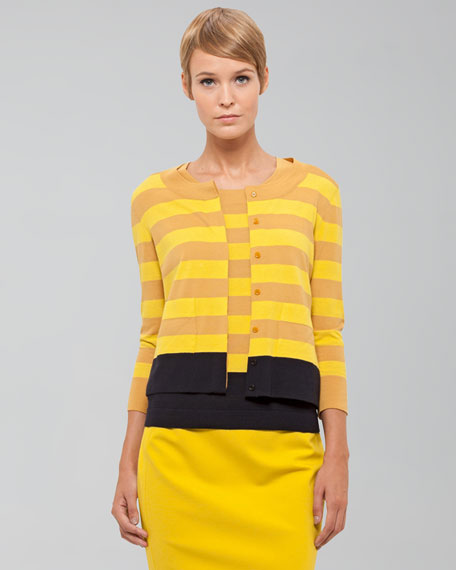 Striped Wool Cardigan, Citron/Marine