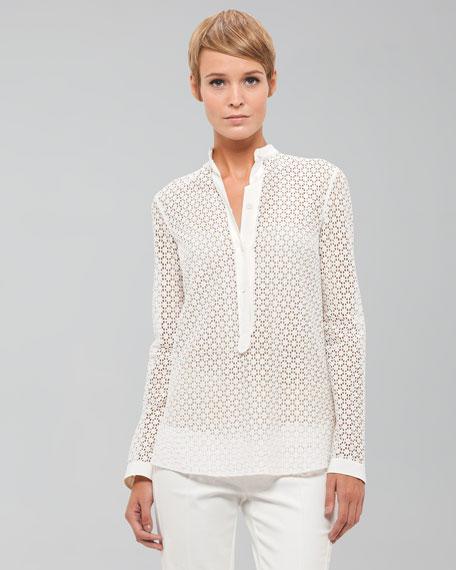 Long-Sleeve Lace Blouse, Ecru