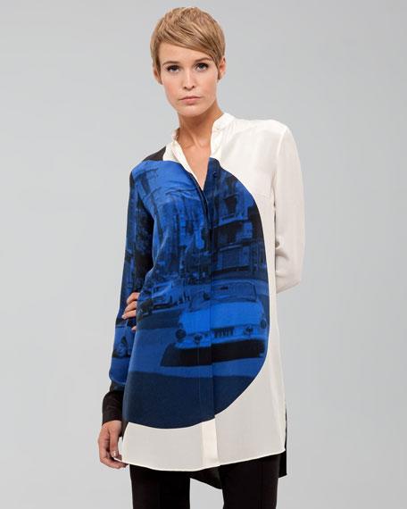 Focus-Print Silk Tunic, Marine