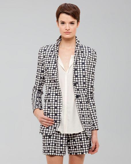 Printed Jacket, Marine/Creme