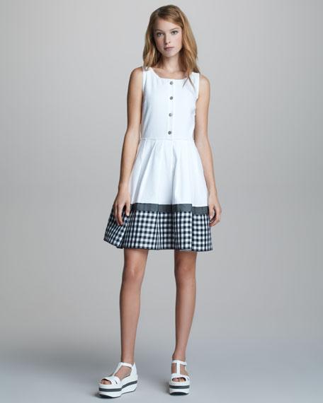 Button-Front Sleeveless Gingham-Hem Dress