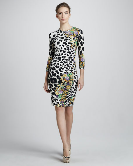 Animal & Floral-Print Sheath Dress