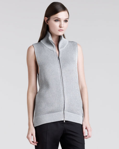 Metallic-Rib Zip Vest