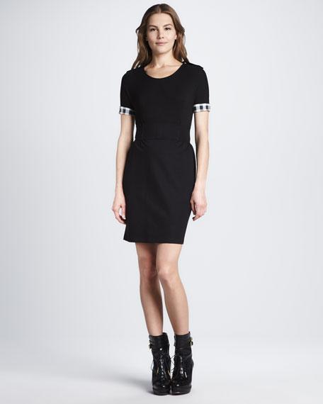 Check-Cuff Combo Dress