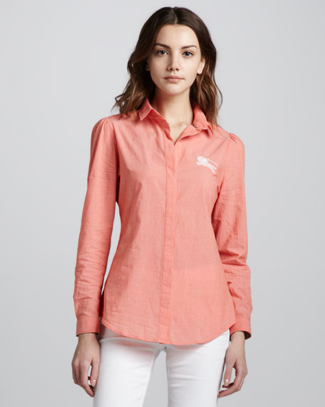 Striped Cotton Shirt with Knight Logo