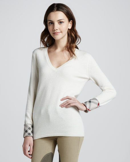 Check-Cuff Cashmere Sweater, Natural White