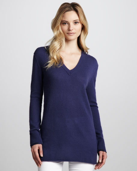 Cashmere V-Neck Tunic, Iris Blue