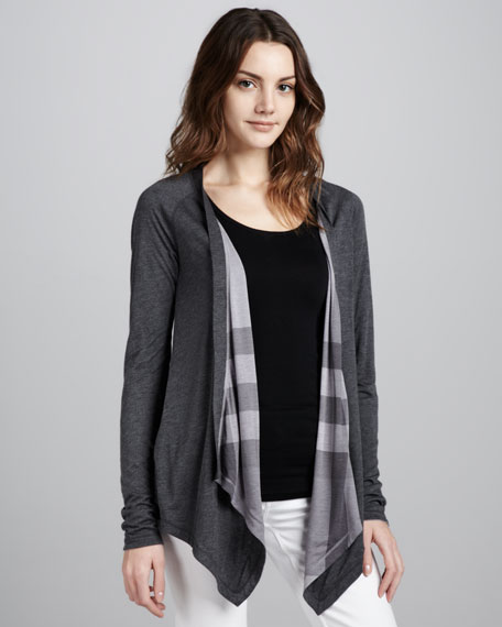 Reversible Waterfall Cardigan, Mid Gray Melange
