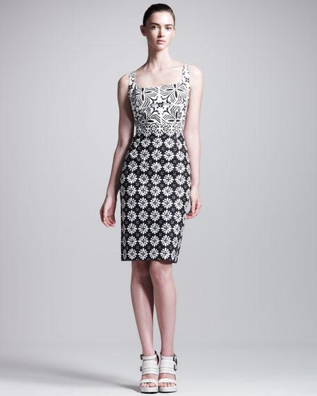 Mixed-Print Scoop-Neck Sheath Dress
