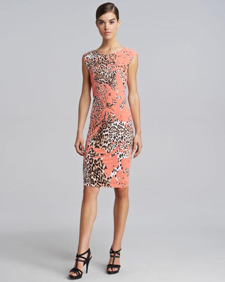 Animal-Printed Cap-Sleeve Dress