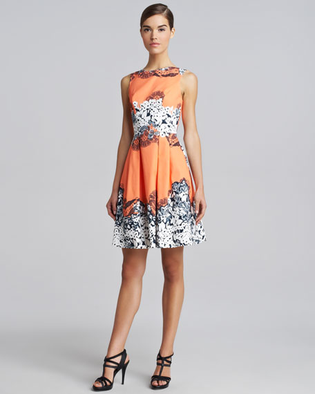 Printed Full-Skirt Dress