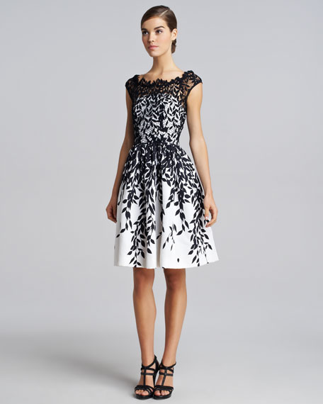 Leaf-Overlay Dress, Black/White