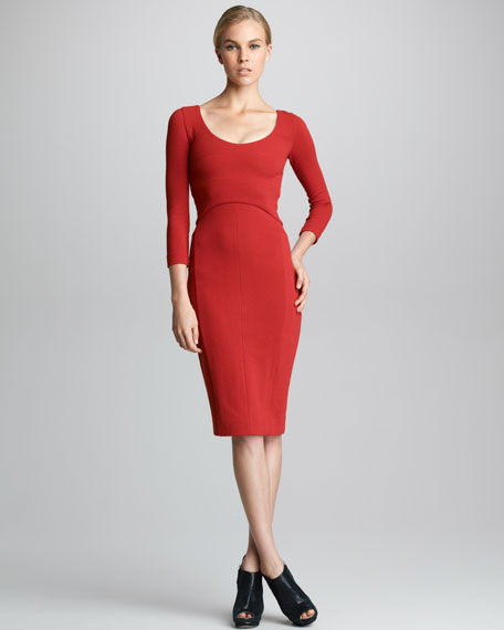 Bracelet-Sleeve Crepe Jersey Dress, Ruby