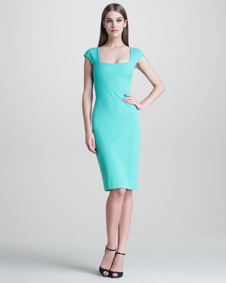 Stretch-Pique Cap-Sleeve Dress