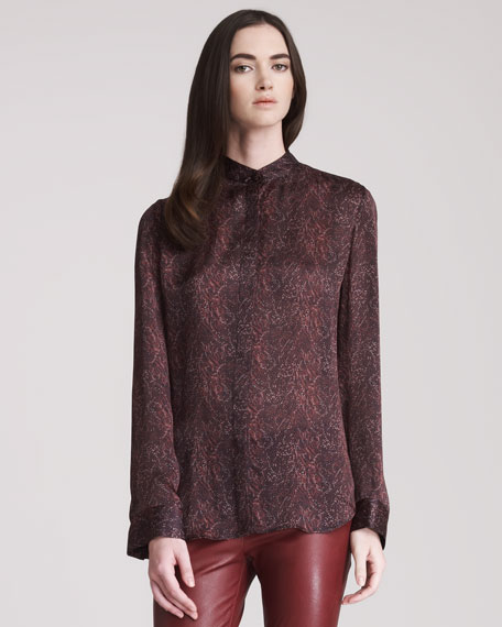Silk Print Blouse With Draped Back