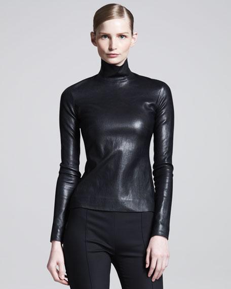 Long-Sleeve Leather Turtleneck