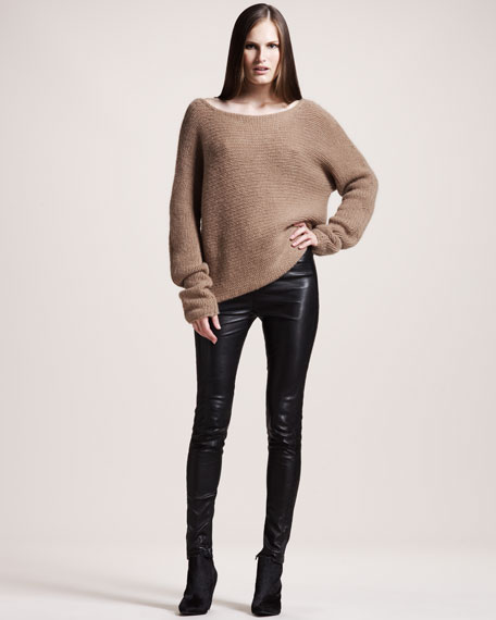 Quilted Stretch-Leather Leggings