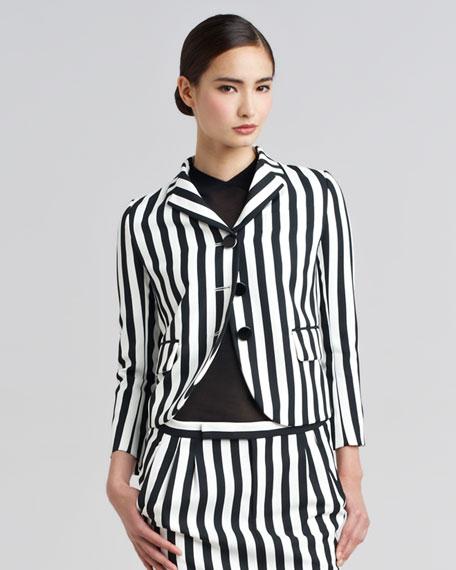 Striped Techno Twill Blazer