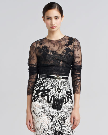 Embroidered Chantilly Lace Blouse