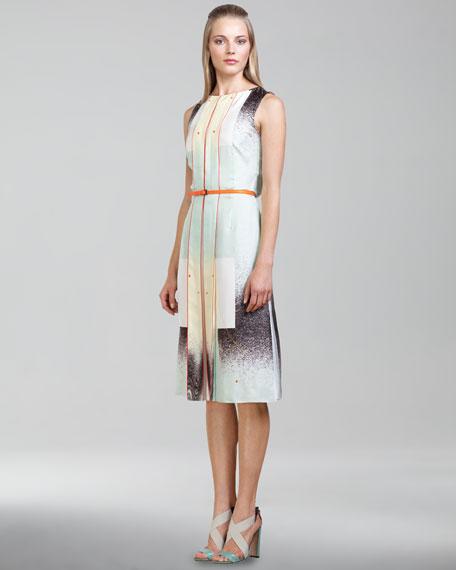 Modern Art-Print Twill Dress