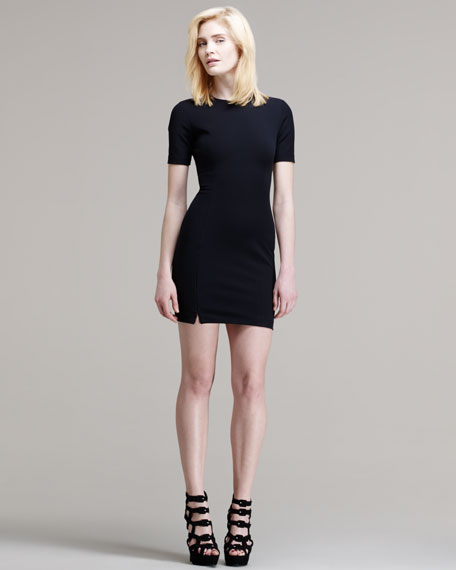 Fitted Short-Sleeve Tech Suiting Dress