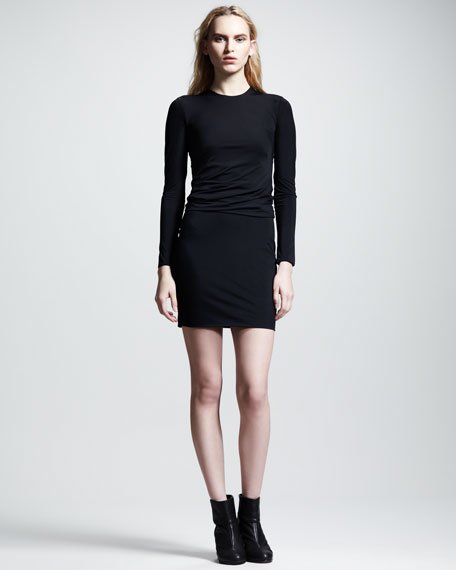 Matte Tricot Twist Dress, Black