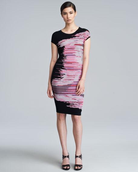 Mixed-Knit Cap-Sleeve Dress